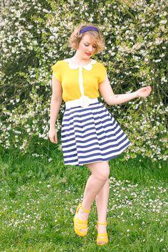 #modclothcollection #stripes #peterpancollar #yellow