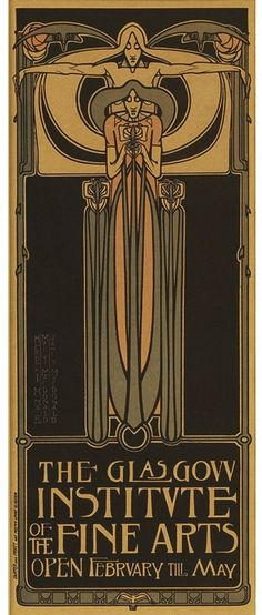 """Poster for the Glasgow Institute of the Fine Arts, c.1896, color lithograph, designed by Frances MacDonald, Margaret MacDonald and James Herbert McNair, 10.5"""" x 4"""""""