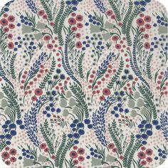Tissu Liberty Bell Flower sanguine/vert