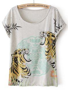Grey Short Sleeve Two Tigers Print T-Shirt US$21.64