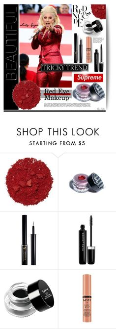 """""""Tricky Trend: Red Eye Makeup & Lady Gaga"""" by mcheffer ❤ liked on Polyvore featuring beauty, Illamasqua, Ardency Inn, Lancôme, Marc Jacobs, Trilogy, NYX and redeye"""