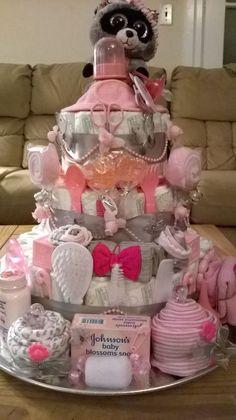 3 Tier Raccoon Baby Girl Shower Diaper Cake Centerpiece or … – Baby Diy - Baby Shower Ideas Bricolage Baby Shower, Cadeau Baby Shower, Baby Shower Crafts, Fiesta Baby Shower, Baby Shower Fun, Girl Shower, Baby Showers, Diy Diapers, Baby Shower Diapers