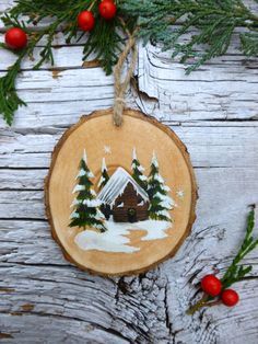 Snowy Log Cabin: Rustic Tree Ornament Snowy Log Cabin: Rustic Tree Ornament by AliceCEades on Etsy Painted Christmas Ornaments, Wooden Ornaments, Christmas Wood, Homemade Christmas, Diy Christmas Gifts, Christmas Wreaths, Christmas Decorations, Merry Christmas, Holiday Crafts