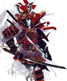 Samurai - Japanese Warrior Illustration by Kent Floris Tatoo Geisha, Geisha Tattoos, Samurai Warrior Tattoo, Ronin Samurai, Character Art, Character Design, Arte Ninja, Culture Art, Samurai Artwork