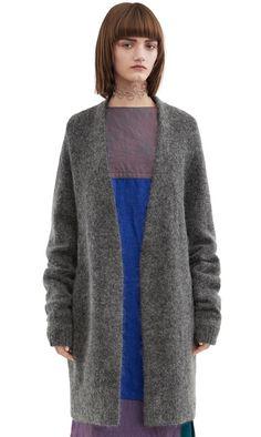 Acne Studios Raya short grey melange heavy cardigan sweater