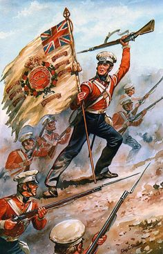 Sergeant McCabe of HM Regiment at the Battle of Sobraon on February 1846 during the First Sikh War: picture by Charles Stadden British Army Uniform, British Uniforms, British Soldier, Military Art, Military History, Military Flags, Military Uniforms, Crimean War, British Armed Forces