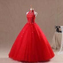 Halter vestido de baile com espartilho vermelho Quinceanera vestido debutante 15 com pedras(China (Mainland))