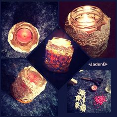 This is a homemade simple candle that can add that 'vintage' effect to any room.  You will need:  •Small candle  •A small jar that can fit the candle of your choice •Leftover lace, dolie, etc. (enough to cover the jar)    Optional:  Small pebbles to go under the candle  1. Use a hot glue gun to glue the lace around your jar. 2. Add pebbles if you wish, and add the candle.  3. Light candle and ENJOY.   Believe it or not, that's it. This simple project can take an old jar and make it into…