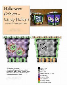 Halloween Goblets - Candy Holders Plastic Canvas Ornaments, Plastic Canvas Tissue Boxes, Plastic Canvas Crafts, Plastic Canvas Patterns, Halloween Canvas, Halloween Crafts, Halloween Bags, Halloween Crochet, Halloween Stuff
