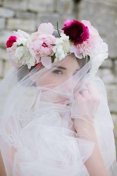 Wedding Rose Tiara and Tulle Veil