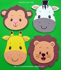 Pinkie Blue Artigos para festa: Carinhas bichinhos safari baby Kids Crafts, Animal Crafts For Kids, Foam Crafts, Diy And Crafts, Paper Crafts, Safari Party, Jungle Party, Safari Theme, Animal Faces