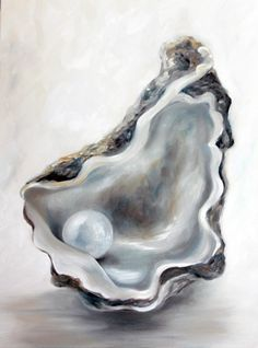 Pearl in it's Oyster Shell Oyster Shells, Sea Shells, Foto Macro, Painted Shells, Shell Art, Ocean Art, Beach Art, Art Plastique, Painting Inspiration