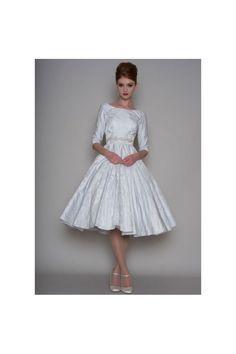 LYDIA Blue 1950s Vintage Tea Length Wedding Dress