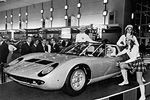 The one of a kind Lamborghini Miura Roadster at the Brussels Auto Show in 1968