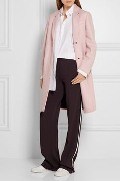 Pastel-pink wool-felt Concealed button fastenings through front 100% wool; lining1: 50% acetate, 50% viscose; lining2: 55% viscose, 45% cotton Dry clean Imported