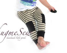 Organic cotton jersey leggings with knee detail by HugmeSew on Etsy.
