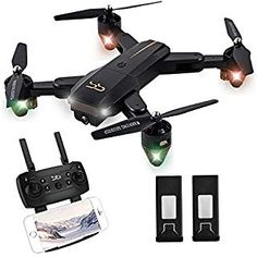 ScharkSpark Drone Thunder with Camera Live Video RC Quadcopter with 2 Batteries Easy to Operate for Beginners Foldable Arms Headless Mode Altitude Hold One Key Take off and Landing