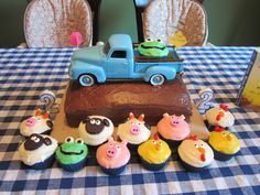 The Little Blue Truck cake and cupcakes I made for my twins' 2nd birthday!  Beep Beep Beep!