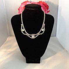 "Stunning Rhinestone Vintage Bib Necklace 16"" Long including the clasp. Set in Silvertone Metal. Please visit our store and see all of the new listings we have posted  at www.CCCsVintageJewelry.com. Have a great vintage day! Best, Coco"
