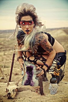 "Halloween or Cosplay ""Mad Max"" costume idea. Post Apocalyptic Costume, Post Apocalyptic Fashion, Apocalyptic Clothing, Mad Max Costume, Mad Max Cosplay, Apocalypse Fashion, Apocalypse Makeup, Apocalypse Costume, Wasteland Warrior"