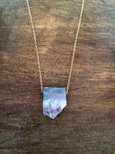 "Raw amethyst pendant on lightweight gold plated chain - 16"" #simpleLine #gold #druzy #quartz #amethyst #jewelry #short #purple #simple #stone #wearUniquely www.doxahlogy.com"