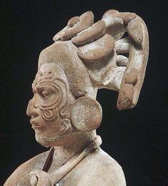 Justin Kerr image: Image: File date: Caption: Jaina Figure Description: Maya, Jaina seated figure wearing shell pendant and scarification on face. Maya Civilization, Inka, Aztec Art, Mexican Art, Ancient Artifacts, Ancient Civilizations, Native American Art, Art History, European History