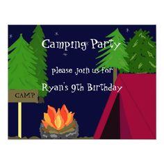 Camping Birthday Party Invitations Camping Birthday Party Invitation