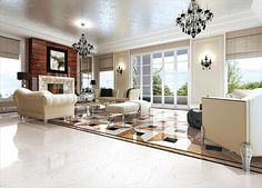 BuildDirect – Mirco Crystal Porcelain Tile - Venus Marble Series – Venanto Polished - Living Room View