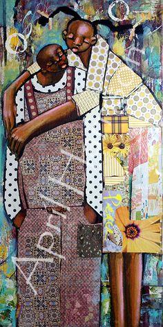 African American Artist, African Artists, Afro, Black Art Painting, Sewing Art, Artwork Pictures, Black Women Art, Black Artists, Assemblage Art