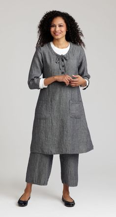 Flax is a great go to line for really comfy clothes. Dress is called Blackeyed Susan and the pants are Floods. Both in denim twill.