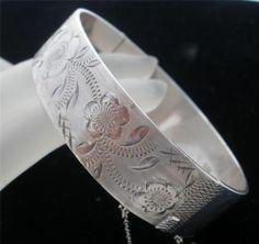 Victorian Style Sterling Silver Bangle Bracelet Vintage Signed B Engraved | eBay