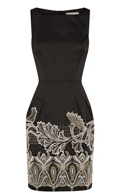 """""""Opulent oriental embroidered dress.""""   that little black dress we all can use, very classy"""