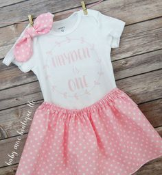 One Birthday Outfit / Baby Girl Pink Birthday by BabyMaeBoutique