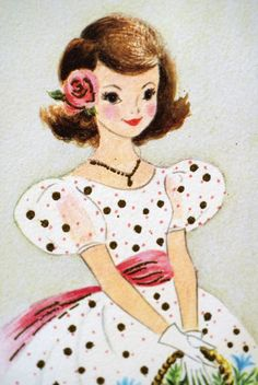 Vintage Young Girl Greeting Card