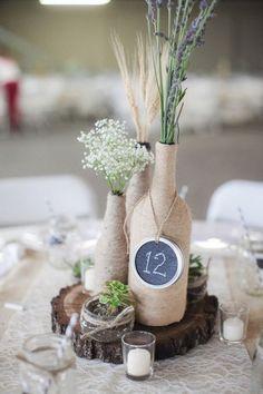 Centros de mesa con botellas para boda - Centros de Mesa