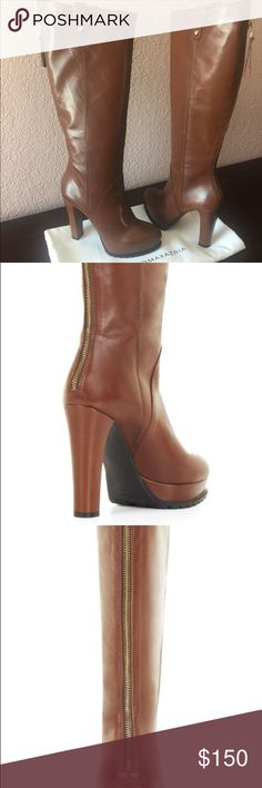 "❤️BCBGMAXAZRIA Kaelin High-Heel Boots! ❤️ Beautiful Cognac color...Approximate 4.5"" heel height, hits at the knee, true to fit. Never worn, dust bag included! BCBG Shoes Over the Knee Boots"