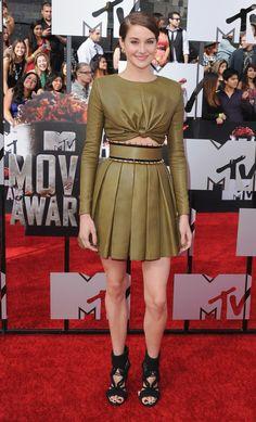Shalene Woodley wearing Balmain at the 2014 MTV Movie Awards