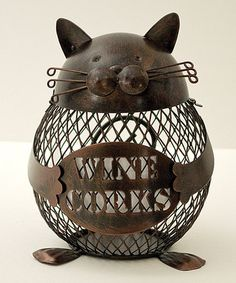 Look at this Cat Cork Cage by Boston Warehouse He's so cuteee! Lego Candy, Wine Cork Holder, Cat Wine, Kitchen Collection, Decorating Tips, Condo Decorating, Stocking Stuffers, Cage, Dog Cat