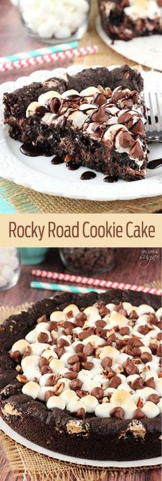 Rocky Road Cookie Cake - a warm, gooey, chocolatey cookie cake full of chocolate chips, marshmallows and nuts! So good!