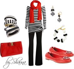 stripes with a pop of red/coral- Polyvore