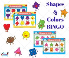 Practice shapes and colors with these Shapes BINGO cards from the Super Simple Learning Resource Center. Three styles to choose from.  #earlychildhoodeducation #Bingo #kindergarten #kidsgames #SuperSimpleLearning