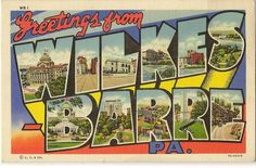 """""""Wilkes-Barre is the County Seat of Luzerne County on the Susquehanna River in the beautiful and historic Wyoming Valley. Wilkes-Barre is the center for Anthracite Coal Mining."""" --from the back of the postcard. This vintage linen postcard, circa 1937, features various landmarks from in and around Wilkes-Barre, Pennsylvania. Notable landmarks include the Luzerne County Courthouse (W) and the former Miners National Bank building (A)."""