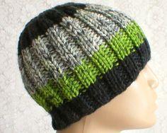 Green black white gray tweed beanie hat 24902a3c474c