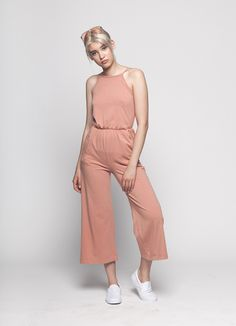 Organic Cotton Blush High Neck Jumpsuit by BackBeatRags