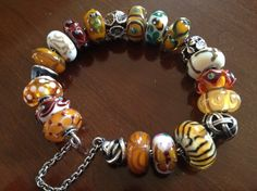 Very special unique beads on this beautiful bracelet from a Trollbeads Gallery customer and forum member...and dear friend!
