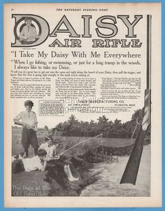 1911 Daisy Special Air Rifle boys at the old fishing hole photo Plymouth MI ad