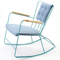 Ernst Race; Enameled Metal and Wood Rocking Chair for Race Furniture, 1948.