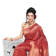 Red and Gold Color Shot Tone Pure Silk Handwoven Saree with Blouse ...