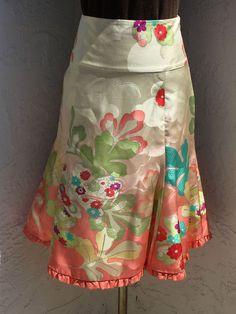 Anthropologie Odille size 6 pink floral silk ruffle hem A-line knee length skirt #Odille #ALine