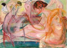 "lawrenceleemagnuson: ""Edvard Munch Kvinner i badet - Women Bathing Munch Museum, Oslo "" Edvard Munch, Amedeo Modigliani, Wassily Kandinsky, Karl Schmidt Rottluff, National Art Museum, Art Alevel, Franz Marc, Oil Painting Reproductions, Post Impressionism"